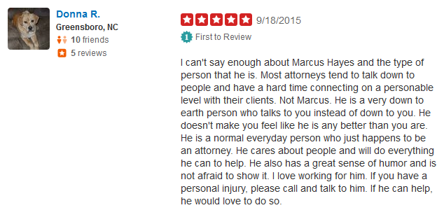 Review for Greensboro Personal Injury Lawyer Marcus Hayes